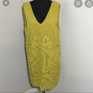 TopShop chartreuse embroidered and beaded dress